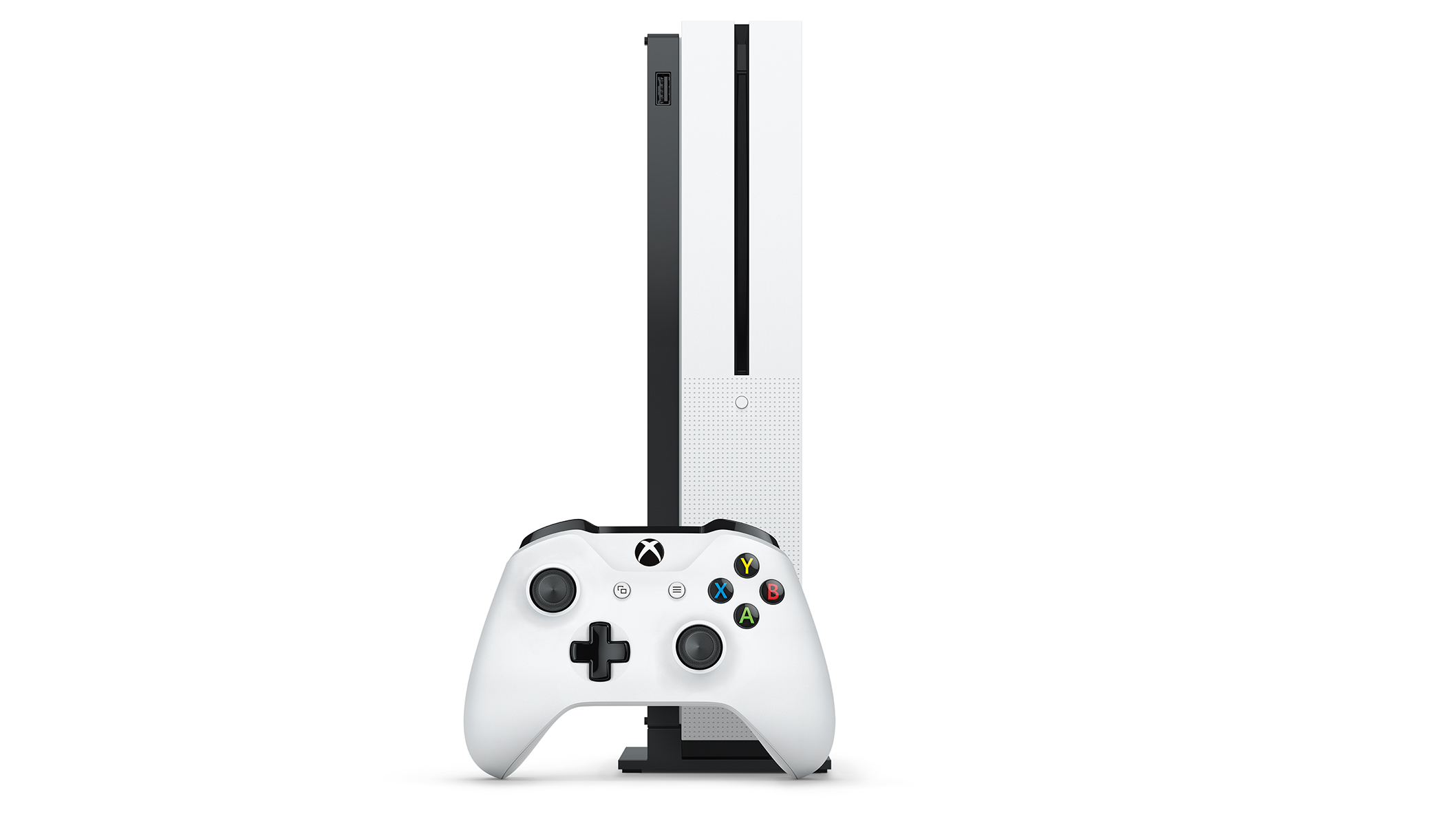 Xbox One S standing position with controller.