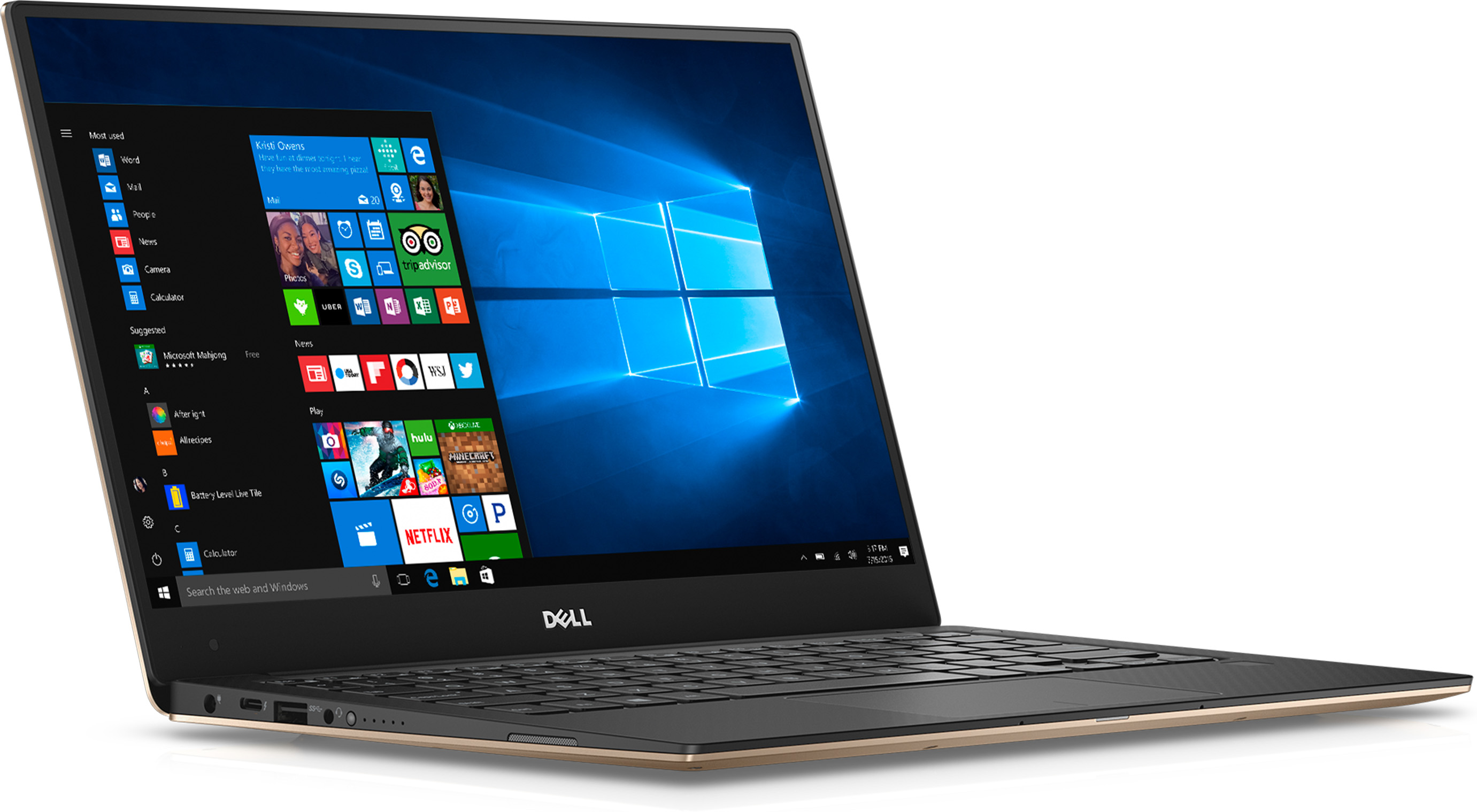 dell xps 13 laptop facing right