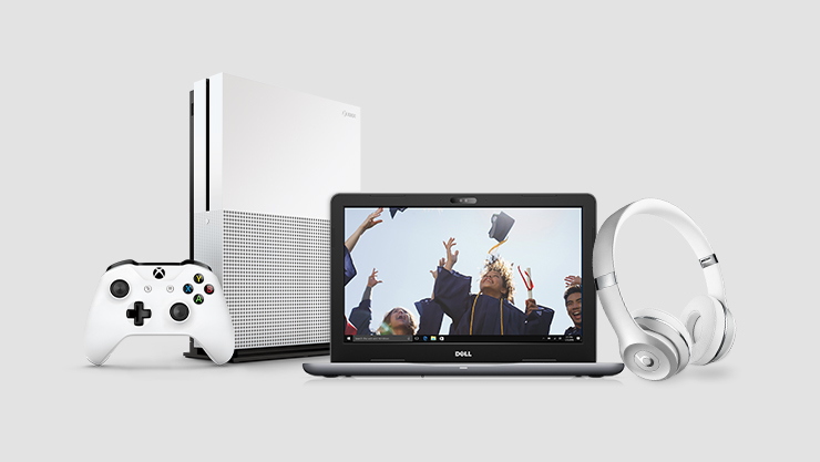 Xbox One S, Dell laptop, and Bose headphones