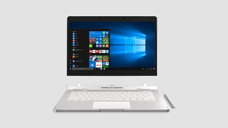 Porsche Design Book One Screen detached from keyboard running Windows 10