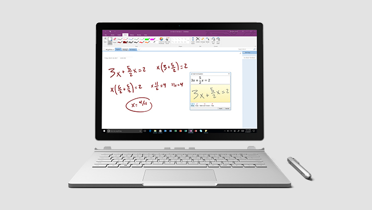 Surface book with pen running Office