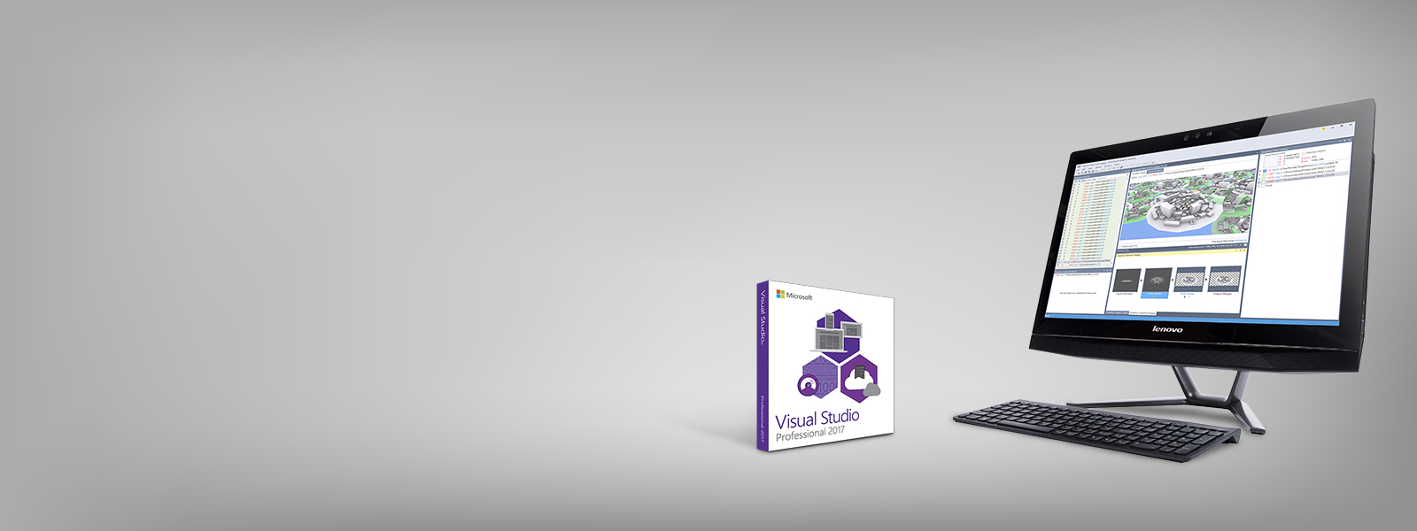 Desktop with Visual Studios and Visual Studios box