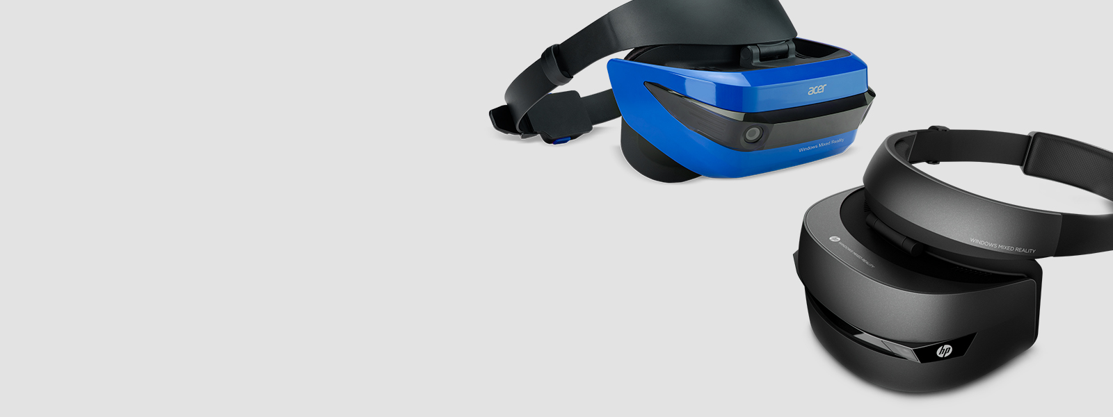 Acer Mixed Reality Headset facing right, HP Mix Reality Headset facing left
