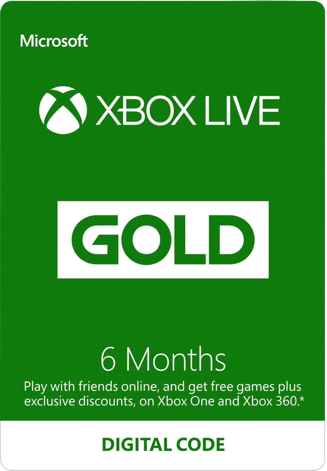 6-Month Xbox Live Gold Membership (Digital Code)