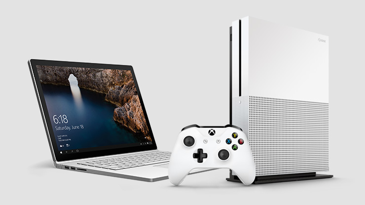 Surface Book and Xbox One S console plus wireless controller