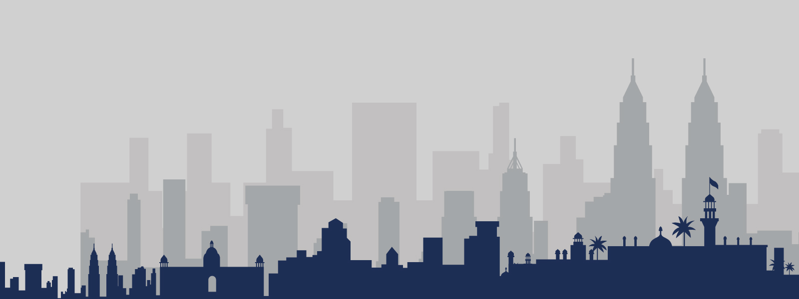 An illustrated graphic of a city skyline