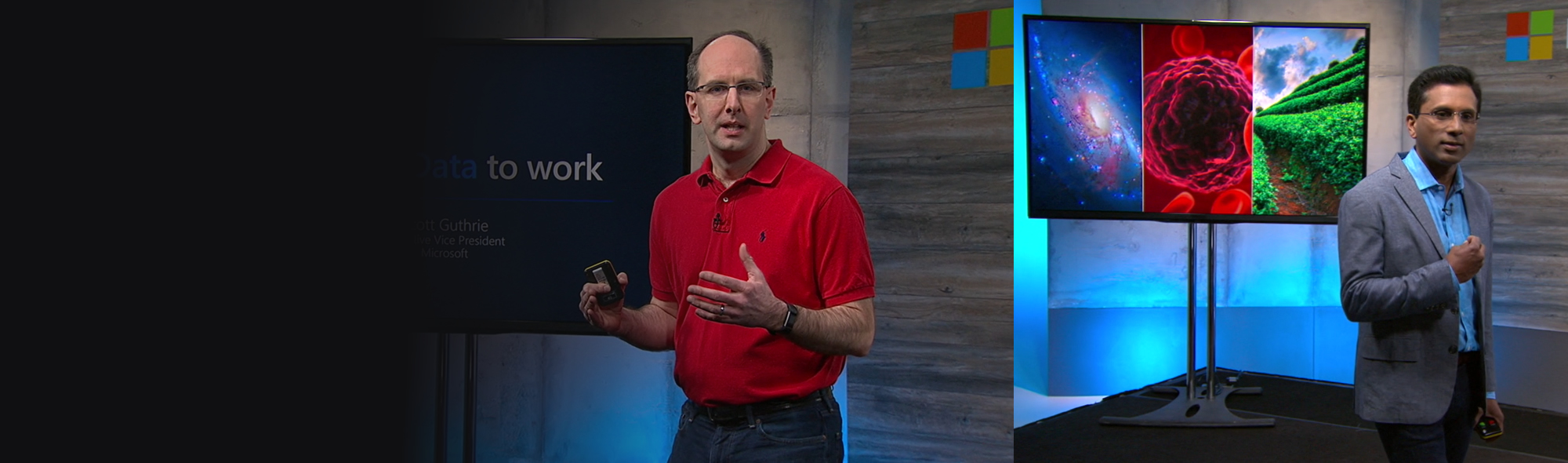 Scott Guthrie speaking at Microsoft Data Amp event.