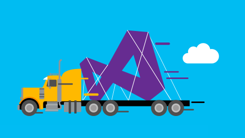 An illustration of a semi-truck carrying a Visual Studio logo
