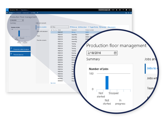 Product screenshot of Operations with production floor management highlighted