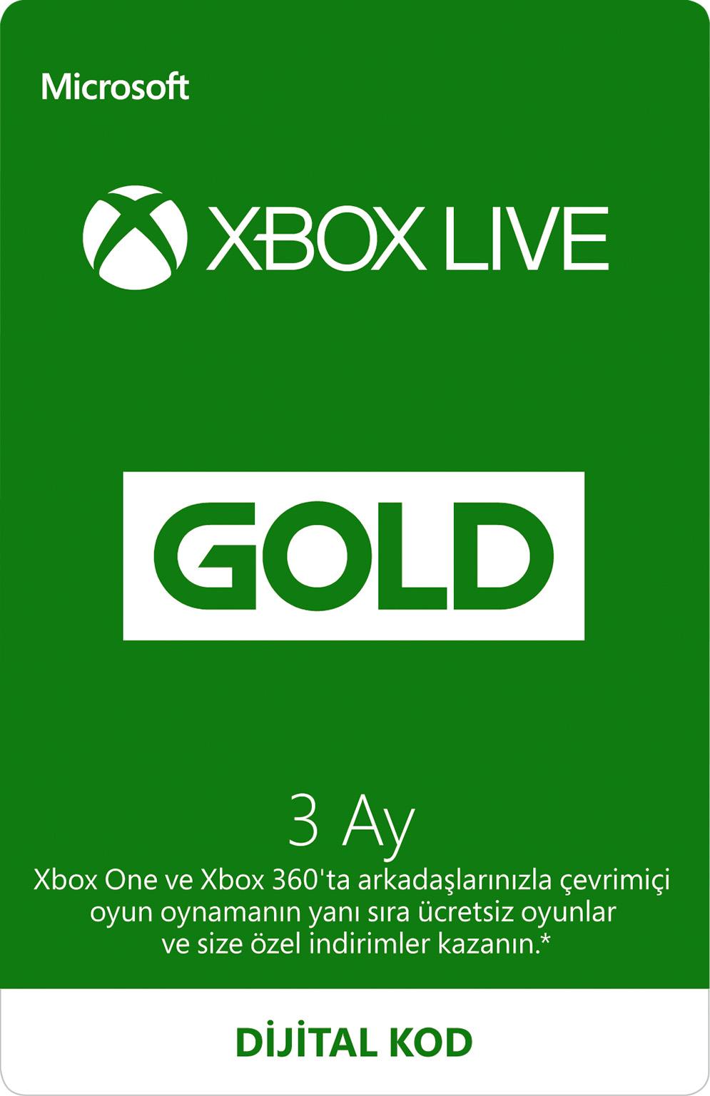 Xbox Live Gold Üyeliği - 3 ay (Dijital Kod)