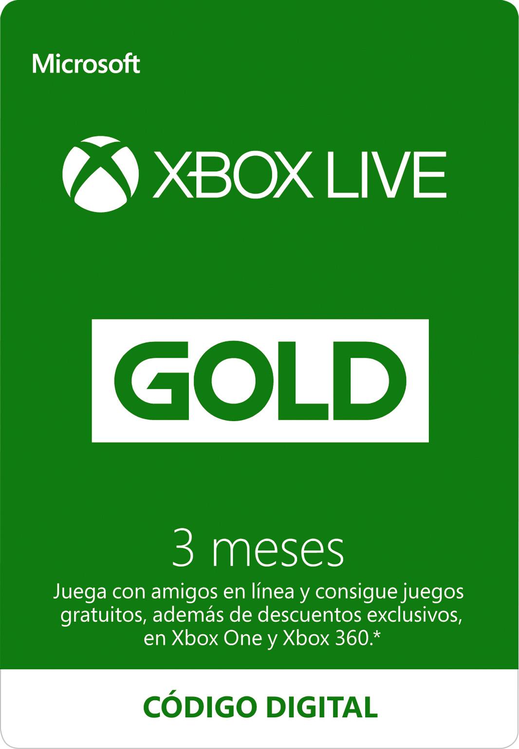 Suscripción a Xbox Live Gold de 3 meses (Código digital)