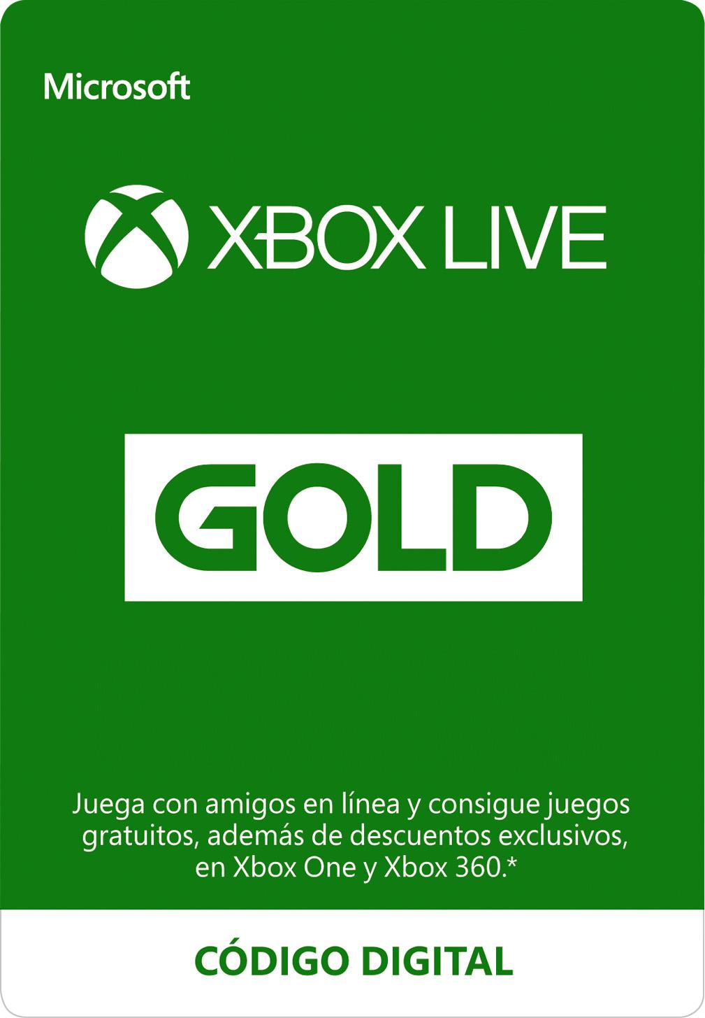Suscripción a Xbox Live Gold (código digital)