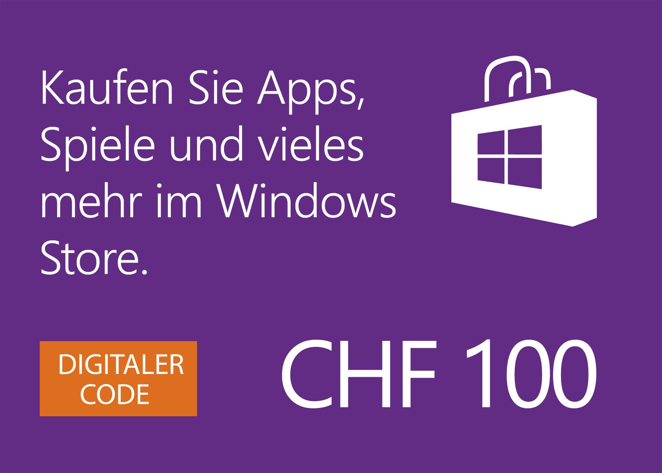 Windows Store digitale Geschenkkarte: CHF 100.00