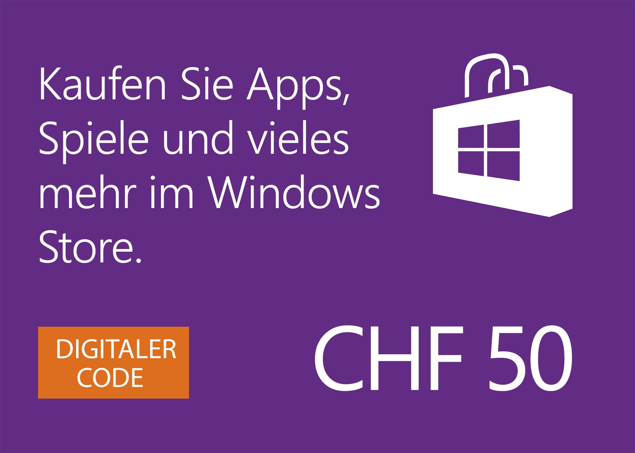 Windows Store digitale Geschenkkarte: CHF 50.00