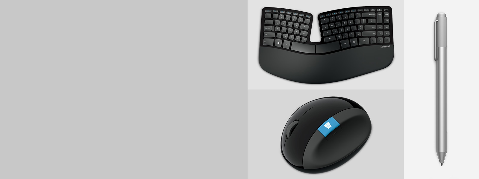 Computer accessories showcasing a mouse keyboard and surface pen