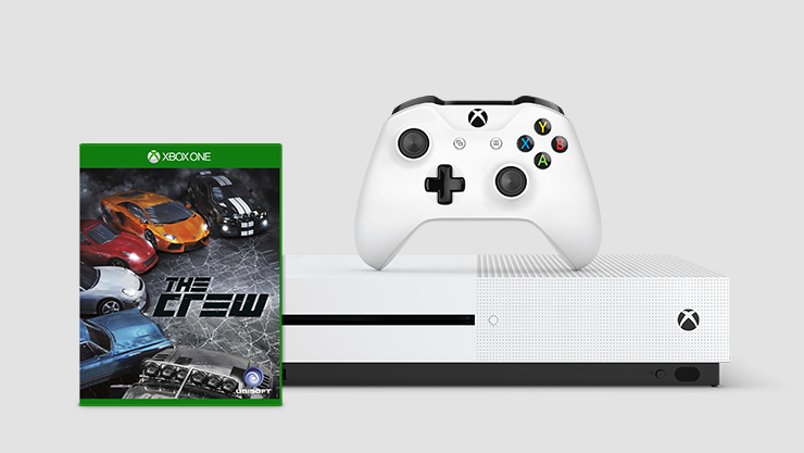 The Crew for Xbox One in front of an Xbox One S console