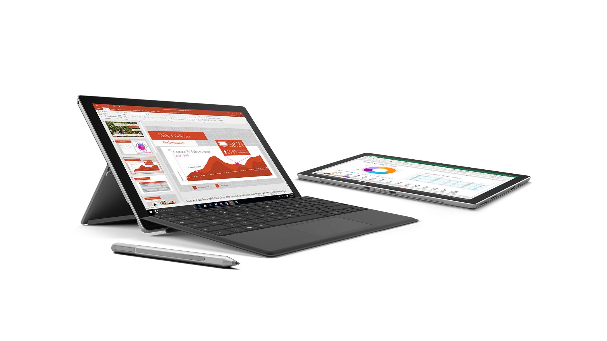 Surface Pro 4 avec couvercle de type noir, face droite, et Surface Pro 4 en tablette.  Les deux avec Office 365