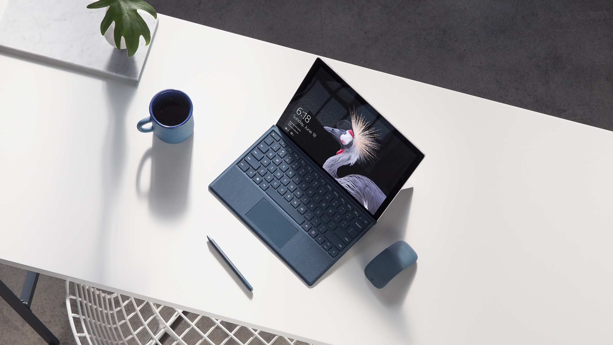 Surface Pro With Type Cover Attached, With Surface Mouse And Surface Pen  Nearby