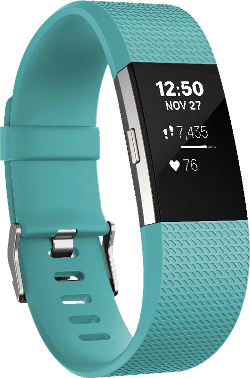 Fitbit Charge 2, bracelet pour la forme avec suivi de la fréquence cardiaque (bleu sarcelle/acier inoxydable, Large)