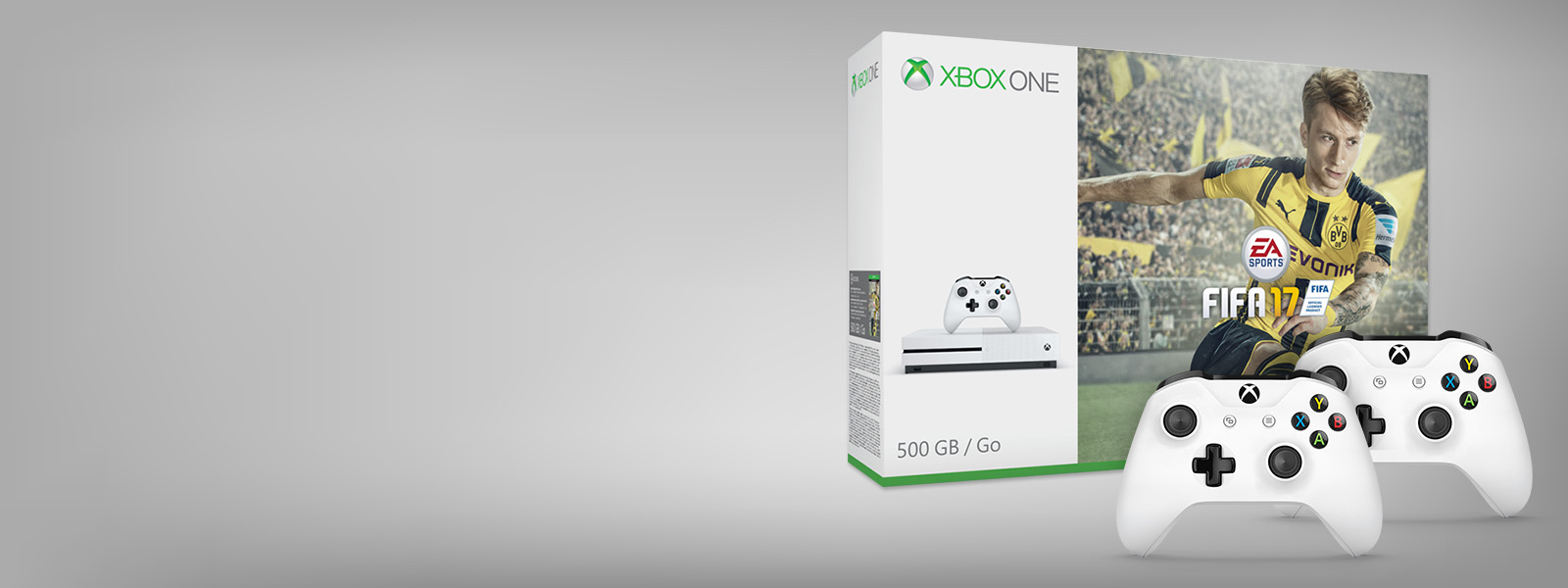 Pack Xbox One S FIFA17 avec deux manettes Xbox  blanches.