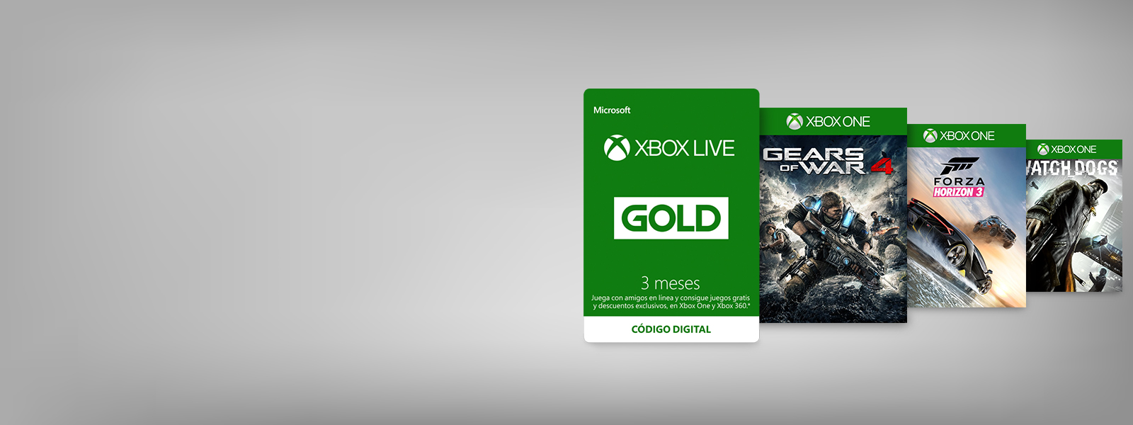 Xbox Live Gold 3 Month Subscription card and 3 Xbox One games