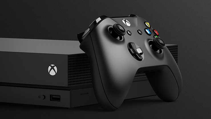 Xbox One X mit Wireless Controller in schwarz