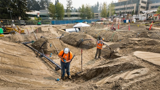 Geoexchange construction systems on site at the Microsoft campus