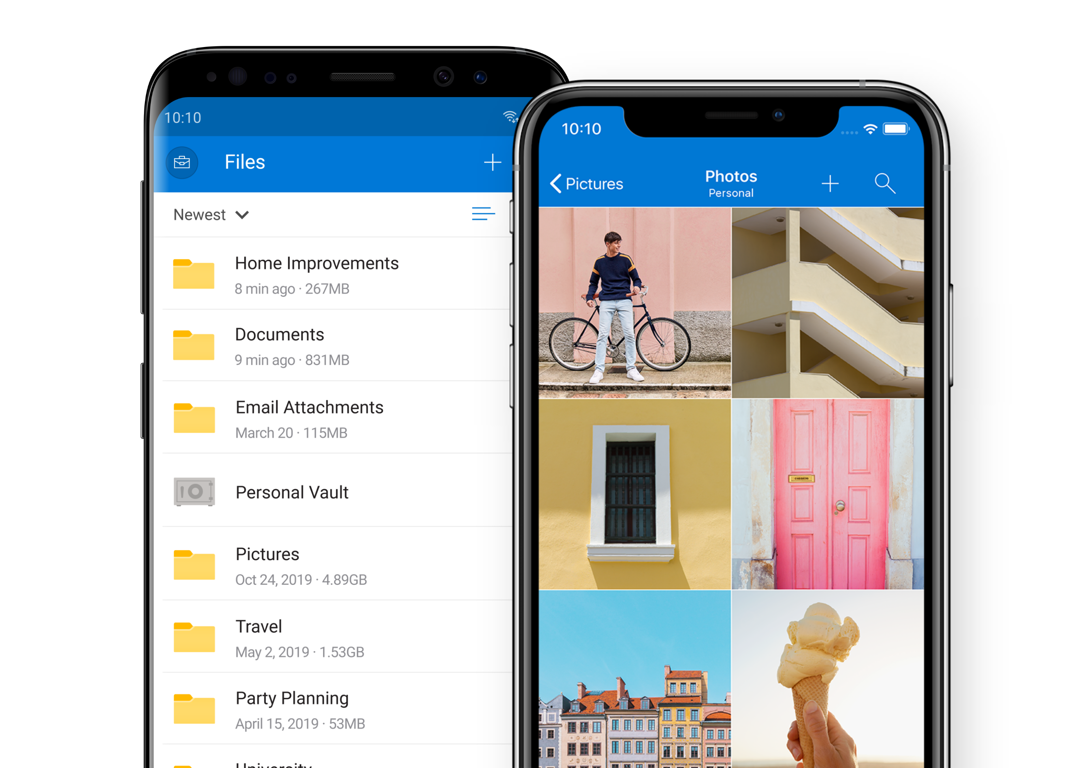 One mobile phone showing file organization on the OneDrive mobile app and another mobile phone showing colorful photos being displayed on the OneDrive mobile app.