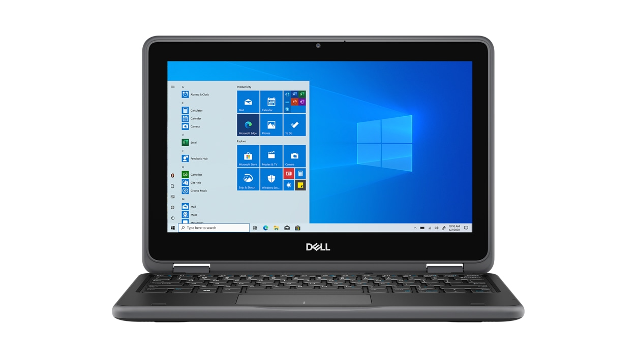 Dell Latitude 3190 2-in-1 laptop from the front with Windows on screen