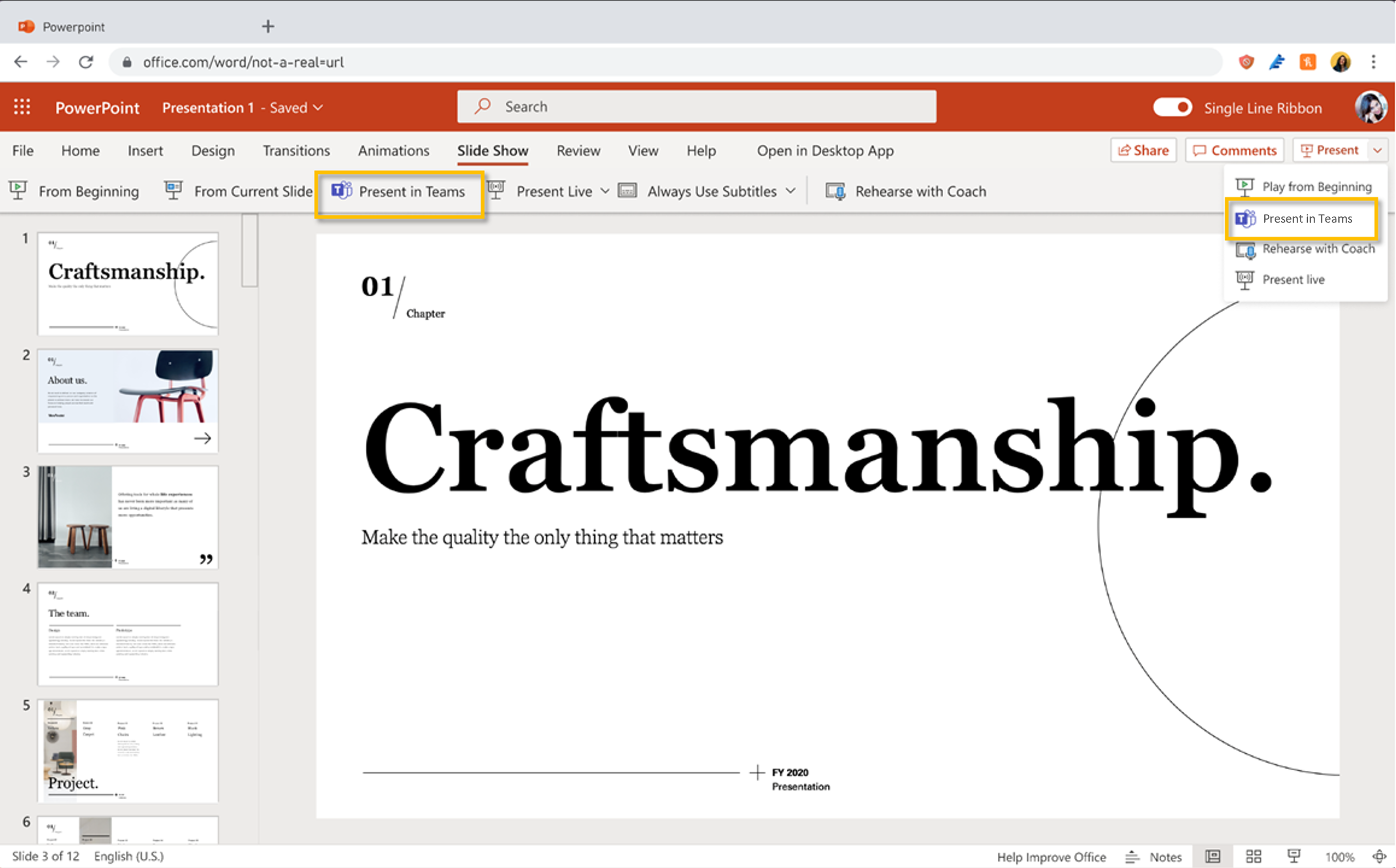 Present in Teams buttons in PowerPoint web app
