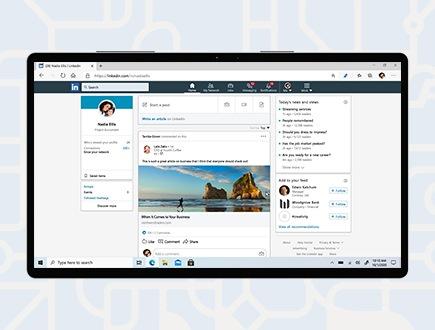 Una página de inicio de LinkedIn