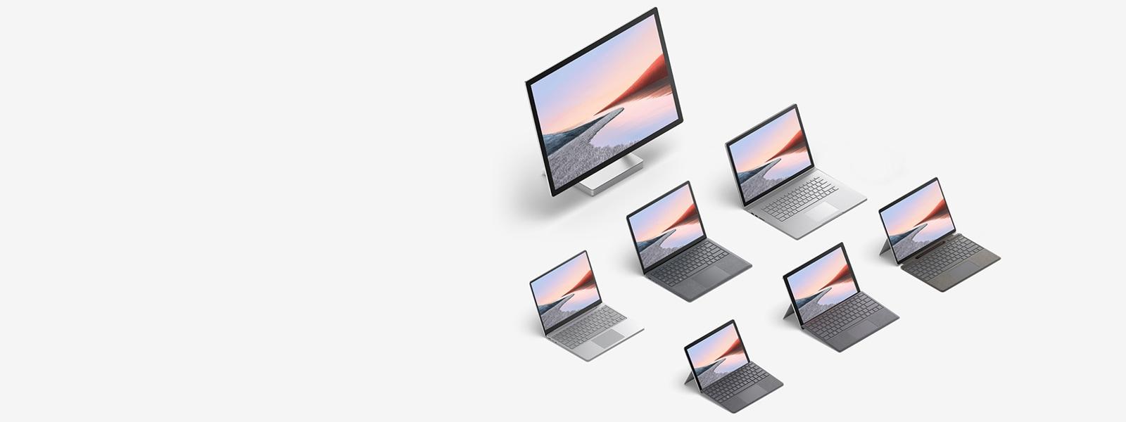 عرض لعدة أجهزة كمبيوتر Surface