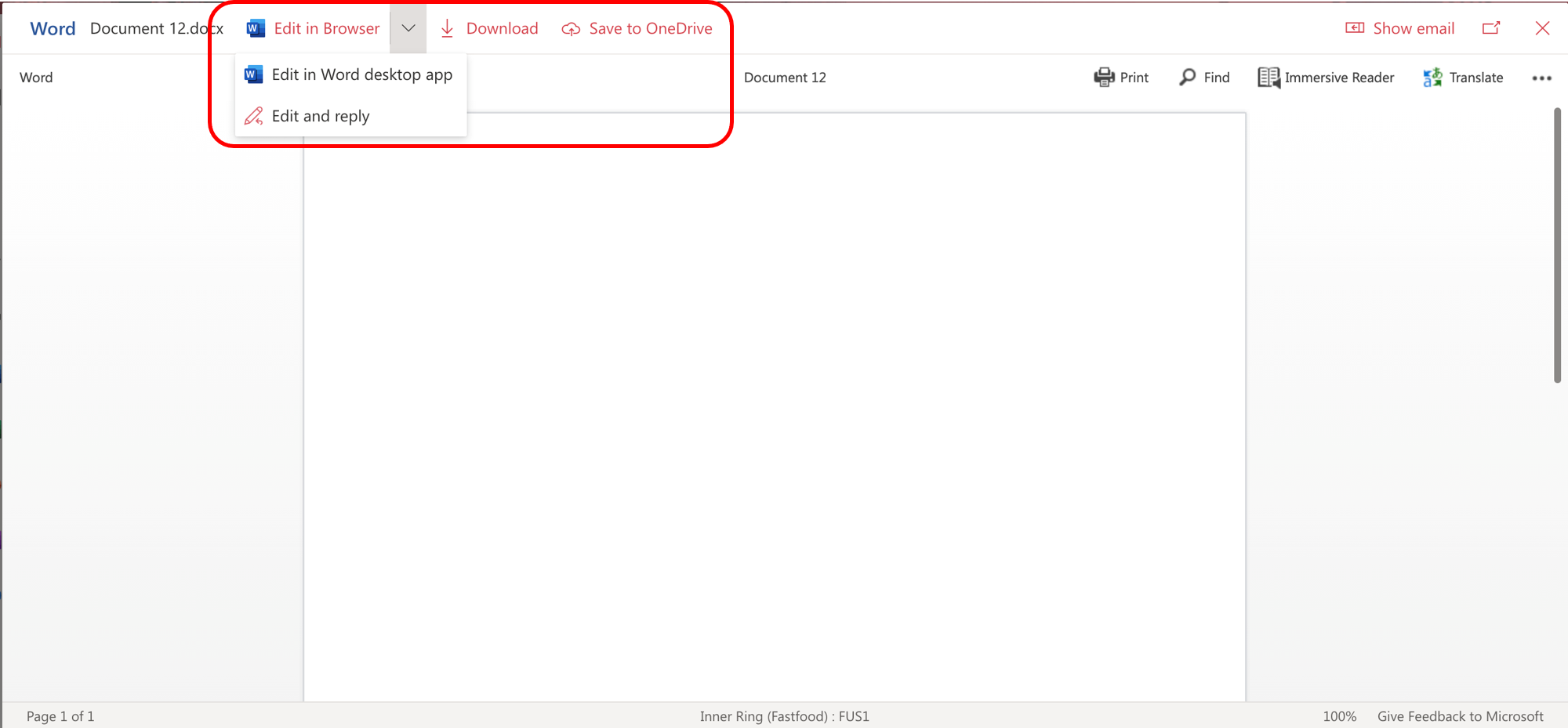 Edit in browser menu options