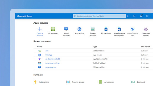 The resource page in Microsoft Azure