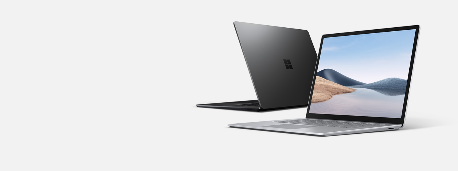 Surface Laptop 4 showing screen and keyboard.