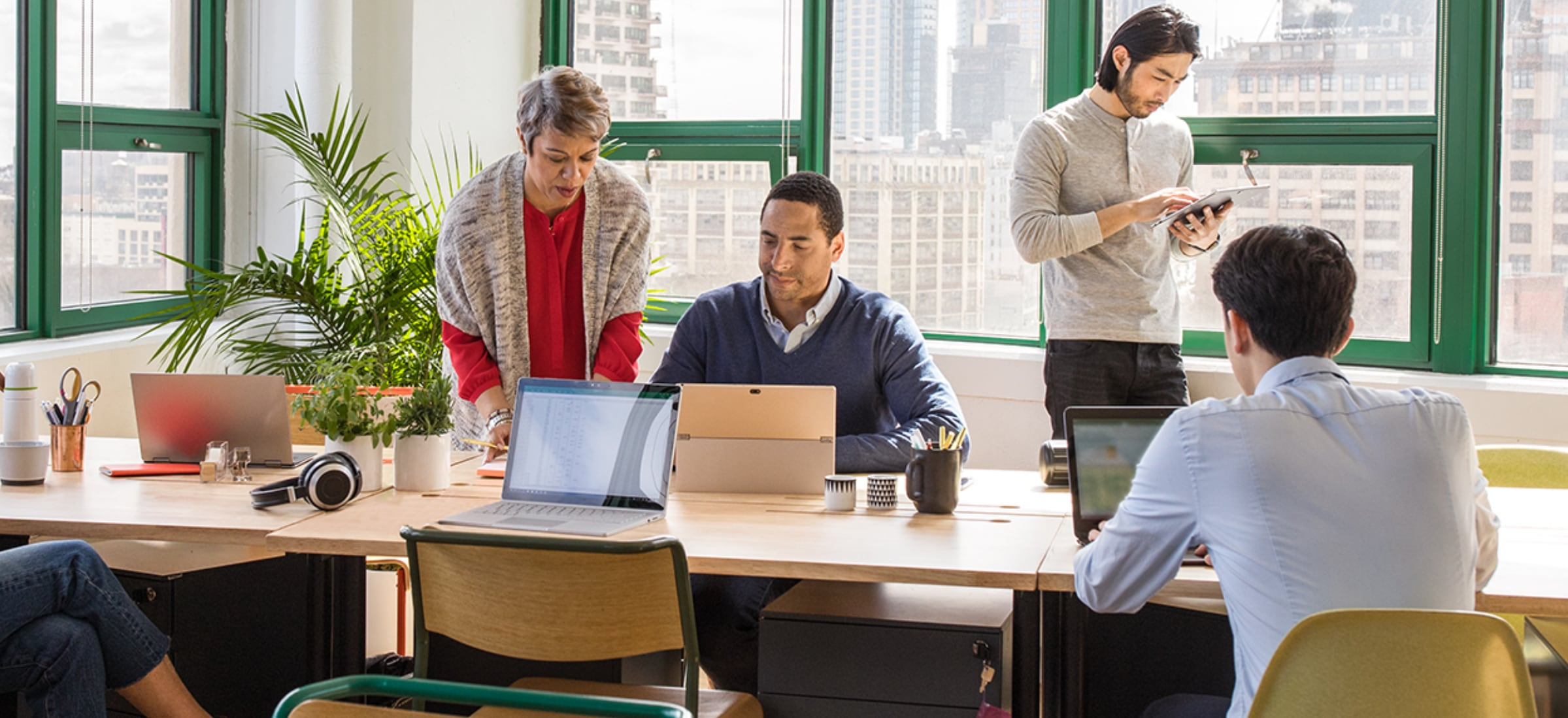 People working in an open office environment.