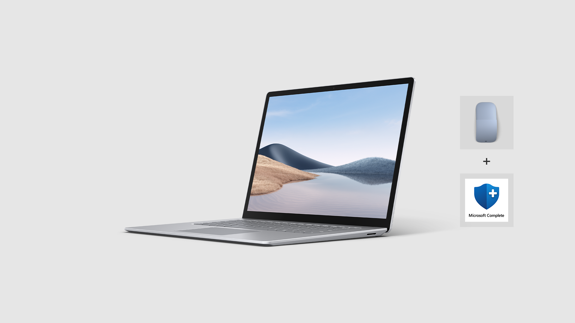 Surface Laptop 4 for Business device and graphical icons for Microsoft 365 and Microsoft Complete Protection Plan.