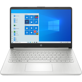 Front view of HP 14-fq0038ms Laptop with Windows screen