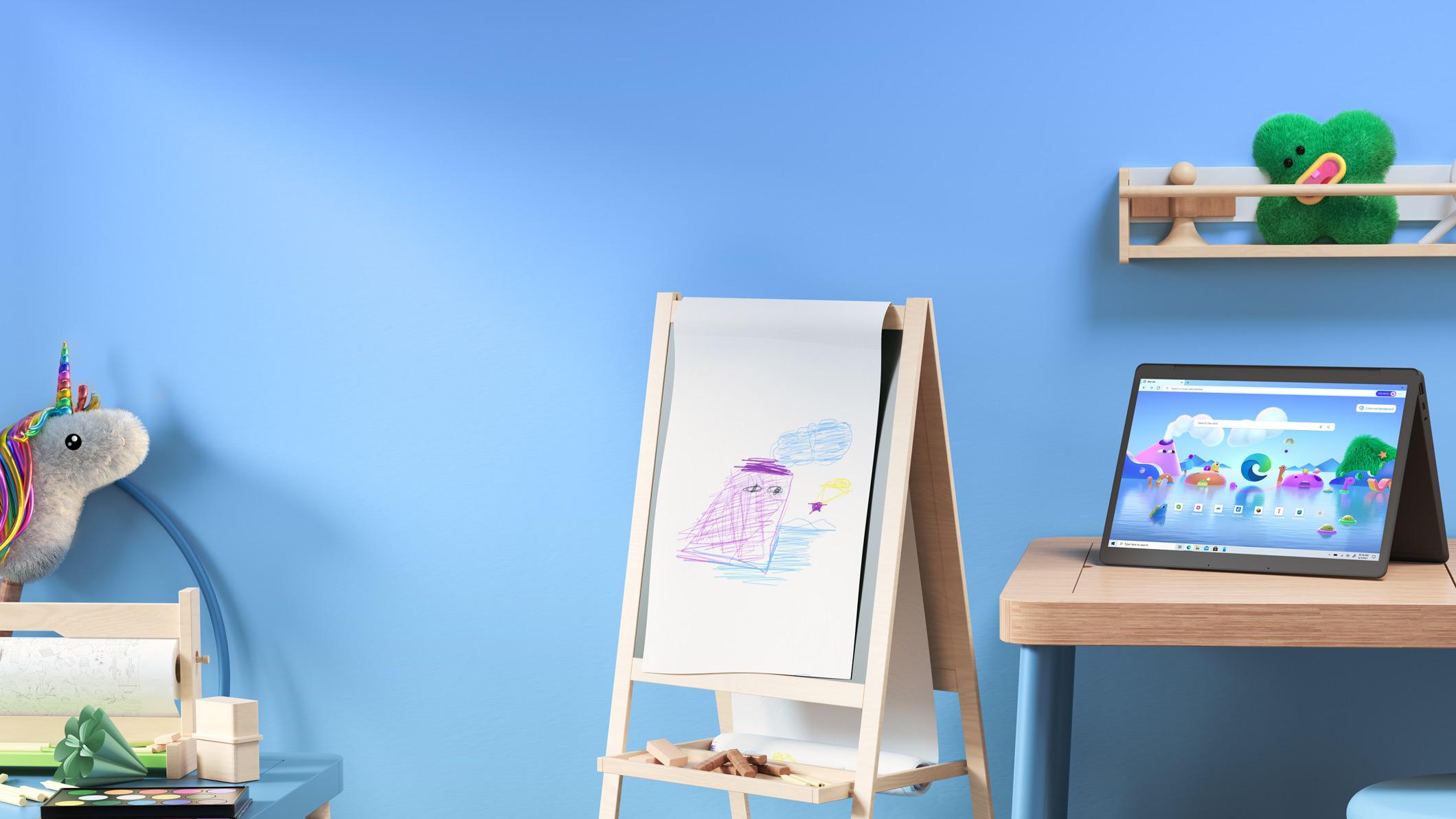 靠墙放着毛绒动物玩具、一副画架以及一台打开一定角度的笔记本电脑,屏幕上显示 Microsoft Edge 儿童模式