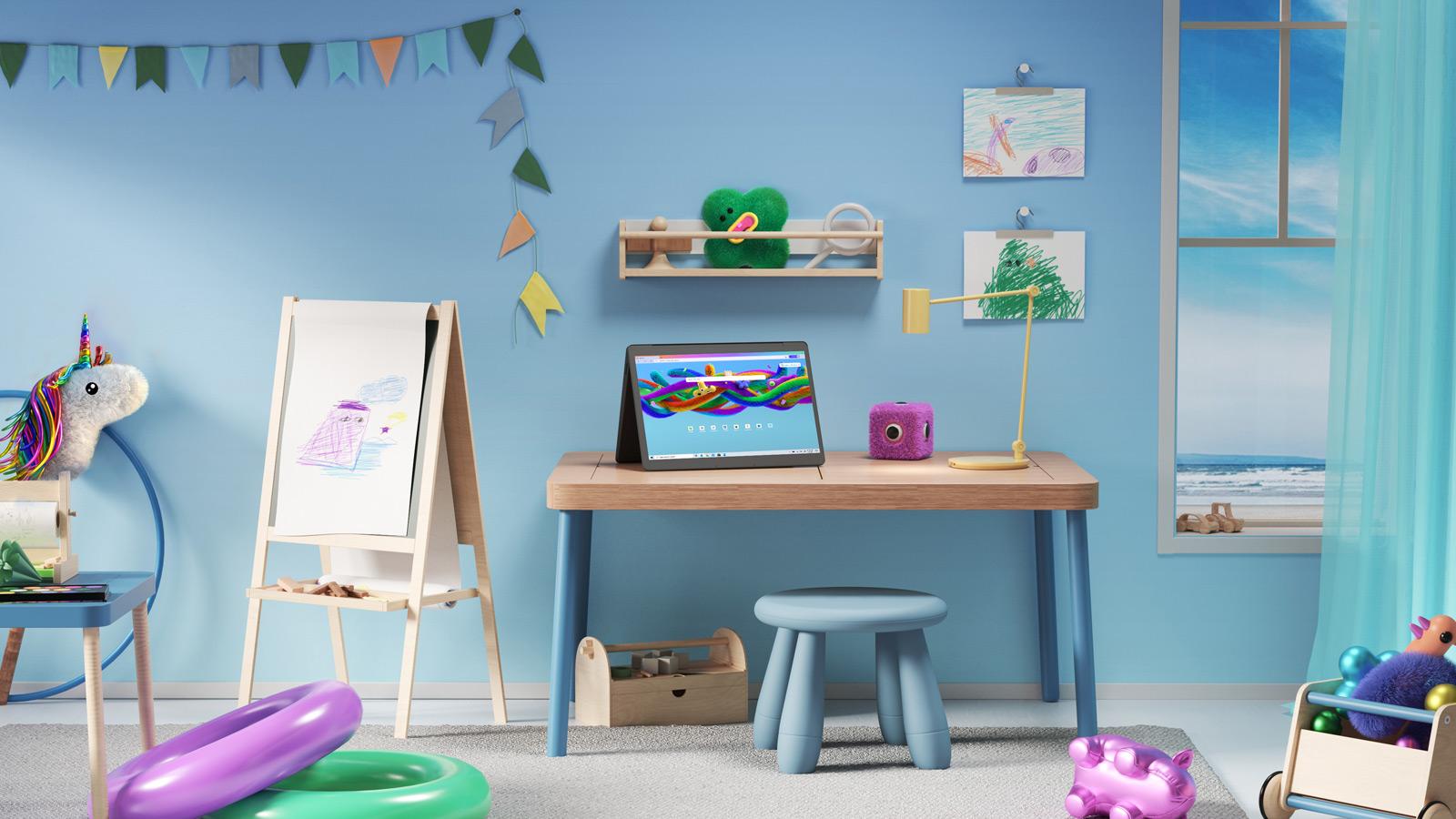 حائط به دمى حيوانات محشوة وألعاب وحامل وكمبيوتر محمول بزاوية مع وضع الأطفال في Microsoft Edge على الشاشة