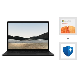 Surface Laptop 4 and graphical icons for Microsoft 365 and Microsoft Complete Protection Plan.