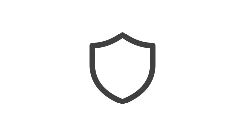 Icon of a shield representing security.