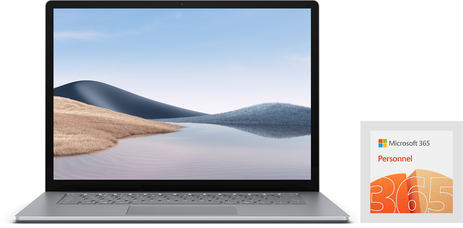 Front view of Surface Laptop 4 with Microsoft 365 Personal in german.