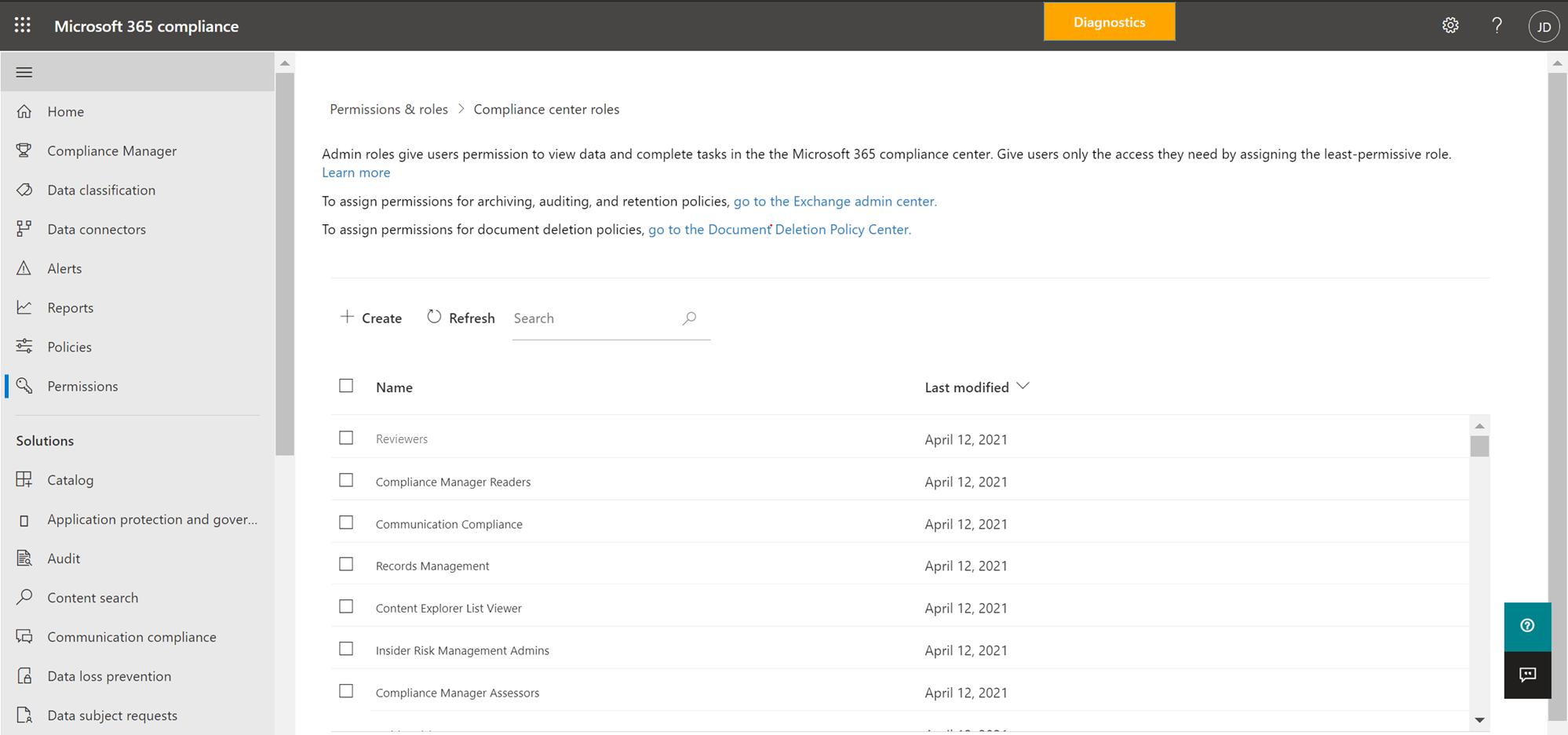 Compliance Center Roles