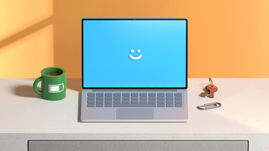 Illustration of a computer with a smile on the screen