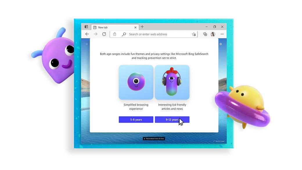 显示儿童模式 Web 选项的 Microsoft Edge 浏览器,位于两个卡通形象之间