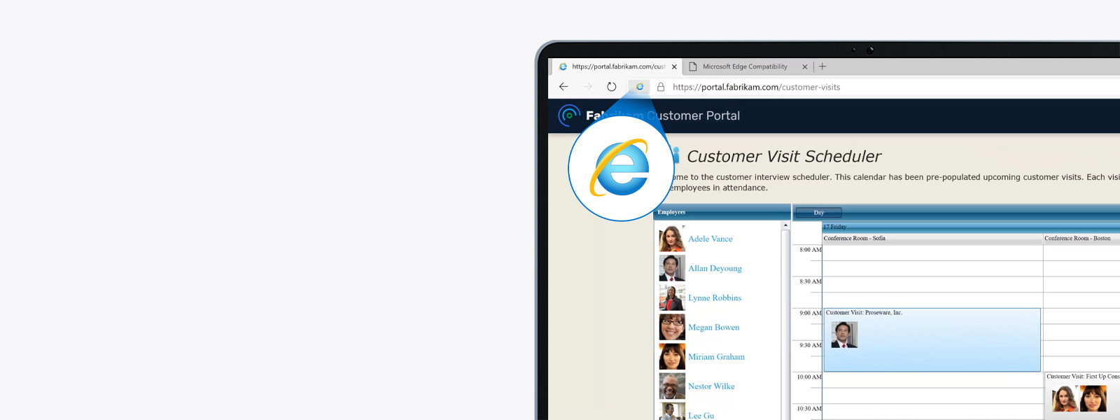 A Microsoft Edge browser with a site opened in Internet Explorer mode.