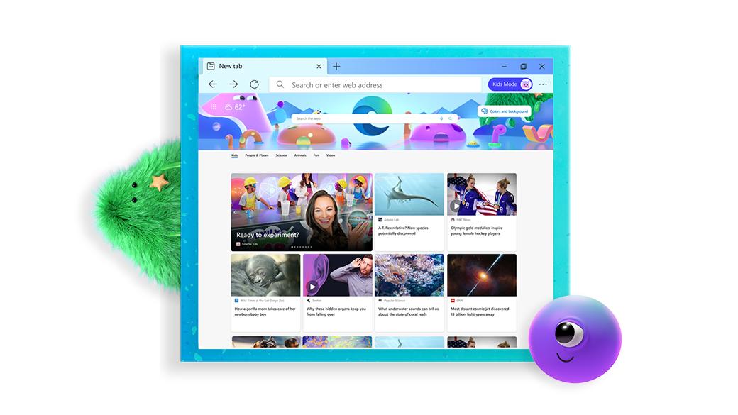 显示儿童模式资讯屏幕的 Microsoft Edge 浏览器,位于两个卡通形象之间
