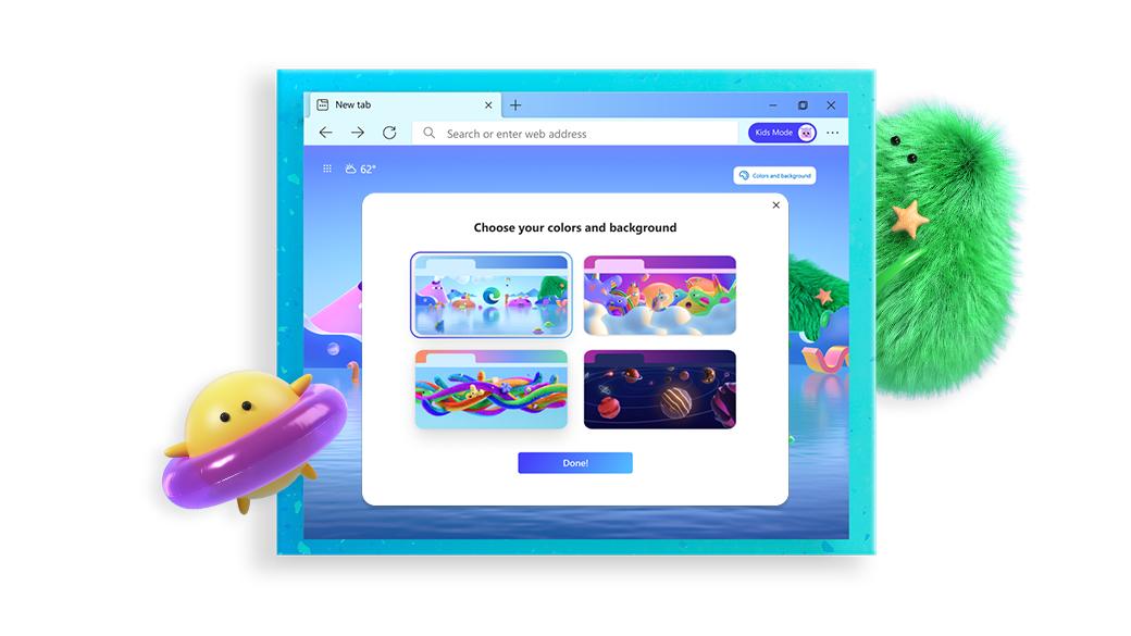 显示儿童模式主题屏幕的 Microsoft Edge 浏览器,位于两个卡通形象之间