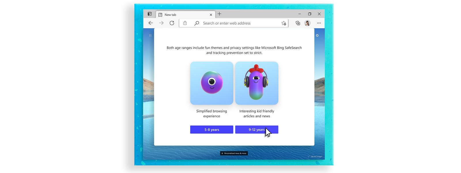 显示儿童模式 Web 选项的 Microsoft Edge 浏览器屏幕